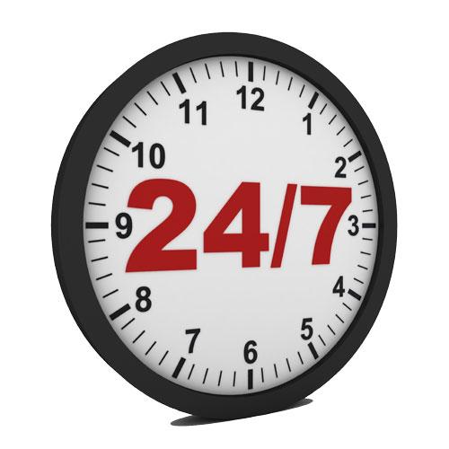 Обслуживание 24 часа 7 дней в неделю